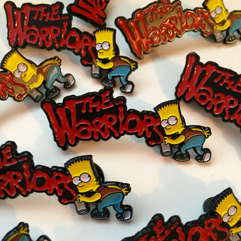 Bart,x,The,Warriors,Pin,Badge,bart x the furies, the warriors pin badge, bart x the warriors pin badge, the simpsons, simpsons pin badge, the simpsons mash up, pin badges, coolest pin badges