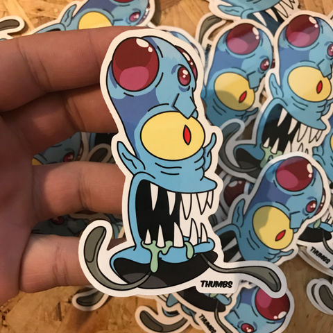 Kodos,x,Tentacool,Pokemon,Die,Cut,Vinyl,Sticker,Kodos x Tentacool Pokemon Die Cut Vinyl Sticker, pokemon simpsons sticker, the simpsons mash up, the simpsons stickers, thumbs design, @thumbs1, thumbs artist