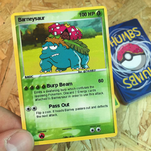 Barney,x,Venusaur,Pokemon,Trading,Card,Barney x Venusaur Pokemon Trading Card, Pokemon simpsons trading card, pokemon simpsons sticker, the simpsons mash up, the simpsons stickers, thumbs design, @thumbs1, thumbs artist