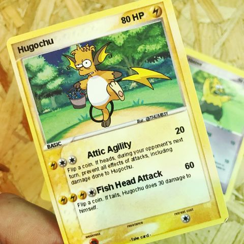 Hugo,x,Raichu,Pokemon,Trading,Card,Hugo x Raichu Pokemon Trading Card, Pokemon simpsons trading card, pokemon simpsons sticker, the simpsons mash up, the simpsons stickers, thumbs design, @thumbs1, thumbs artist
