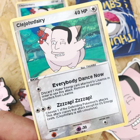 John,Zzzap,x,Clefairy,Pokemon,Trading,Card,John Zzzap x Clefairy Pokemon Trading Card, Pokemon simpsons trading card, pokemon simpsons sticker, the simpsons mash up, the simpsons stickers, thumbs design, @thumbs1, thumbs artist