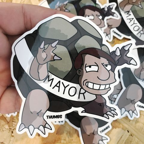 Mayor,Quimby,x,Gollem,Pokemon,Die,Cut,Vinyl,Sticker,Mayor Quimby x Gollem Pokemon Die Cut Vinyl Sticker, pokemon simpsons sticker, the simpsons mash up, the simpsons stickers, thumbs design, @thumbs1, thumbs artist