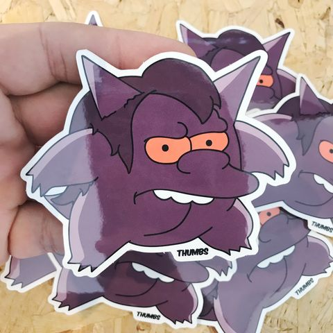 Nelson,x,Gengar,Pokemon,Die,Cut,Vinyl,Sticker,Nelson x Gengar Pokemon Die Cut Vinyl Sticker, pokemon simpsons sticker, the simpsons mash up, the simpsons stickers, thumbs design, @thumbs1, thumbs artist