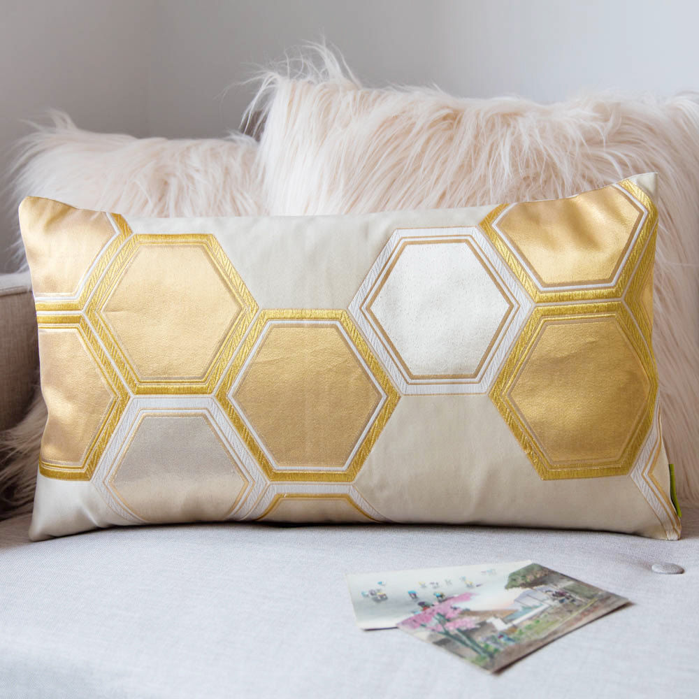 Gold Geometric Cushion, Metallic Hexagon, Japanese Silk - product image