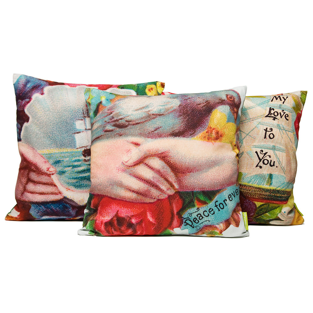 Set of 3 Floral cushions - Victorian calling cards - product images  of