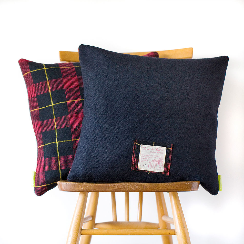 Upcycled Vintage Gannex Plaid Cushion Ltd Ed Navy THE HAROLD - product image