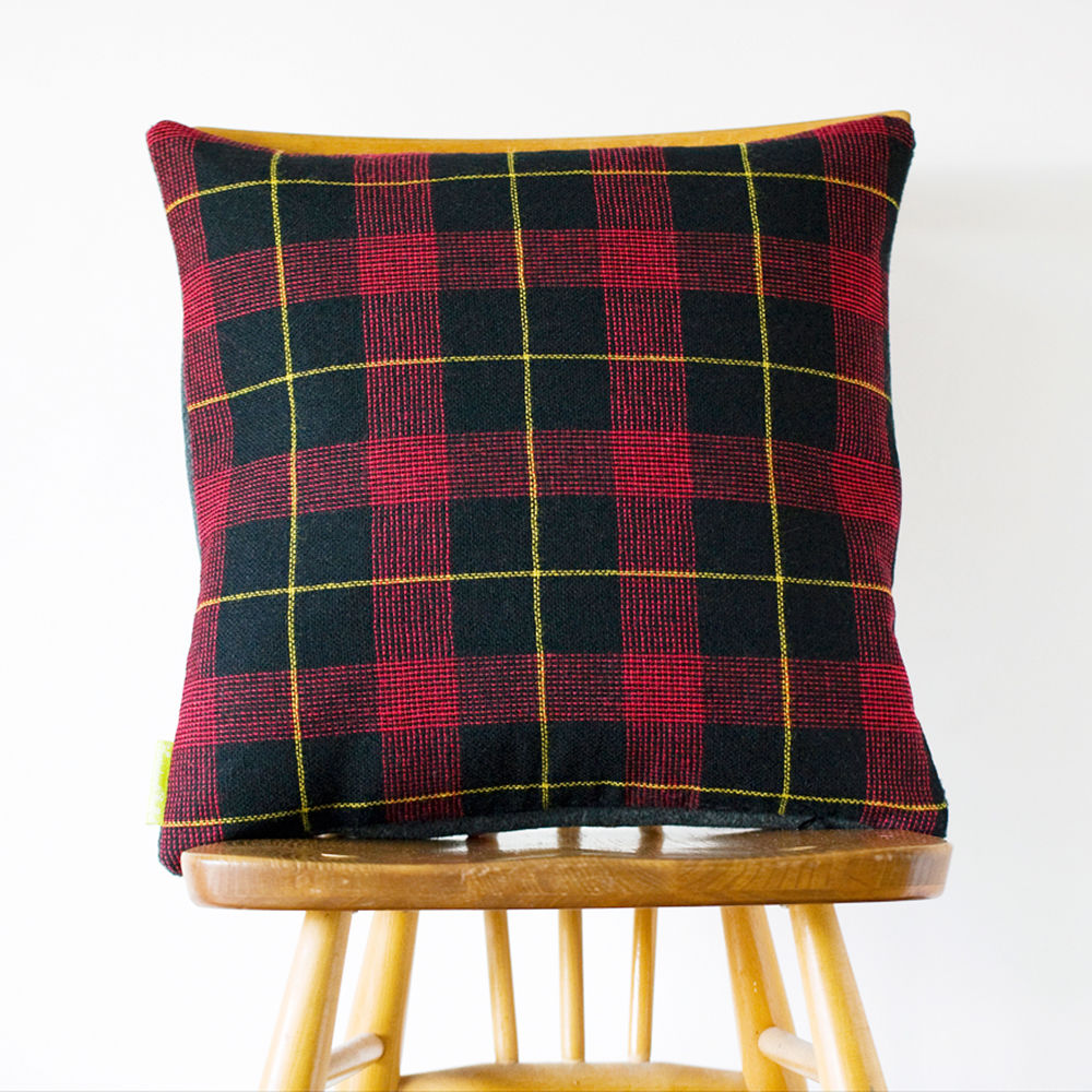 Grey Wool Tartan Cushion -Upcycled Vintage 1960s Gannex THE DUKE - product images  of