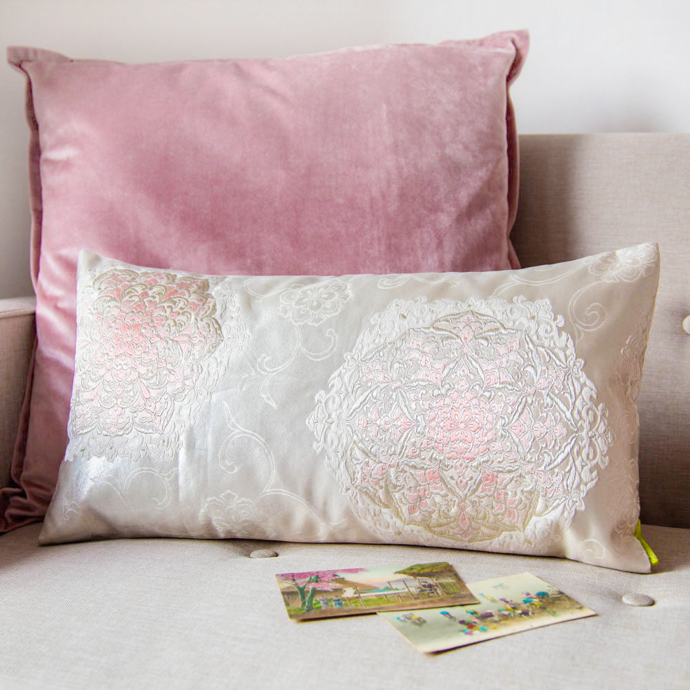 Ivory Pink Silk Floral Kimono Cushion -Hanabishi - product images  of