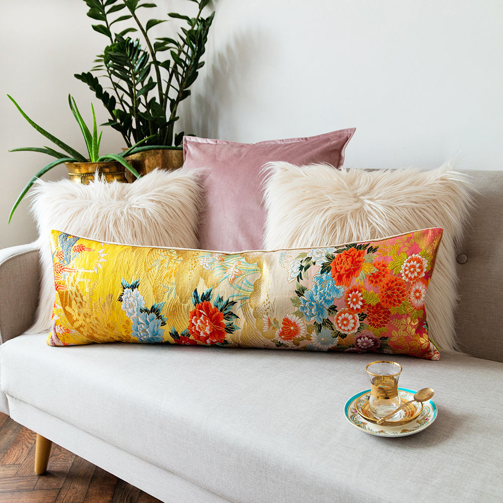 Oriental Bolster Cushion -Yellow Gold Floral Brocade, Luxury Wedding Present - product image