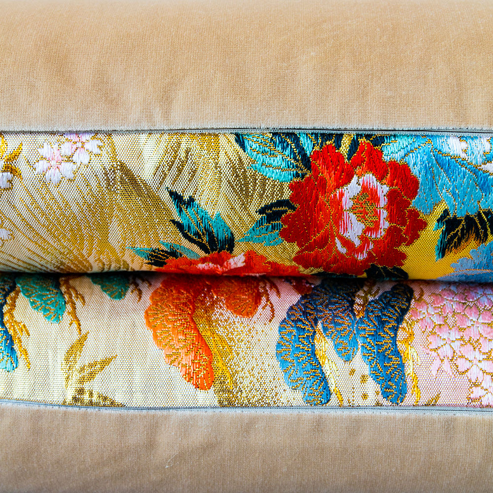 Oriental Bolster Cushion -Yellow Gold Floral Brocade, Luxury Wedding Present - product images  of