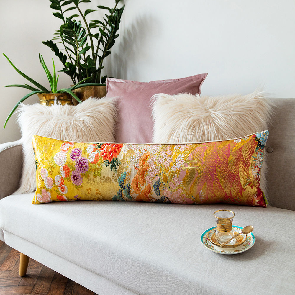 Long Bolster Cushion -Yellow Gold Brocade -Eco wedding gift - product image
