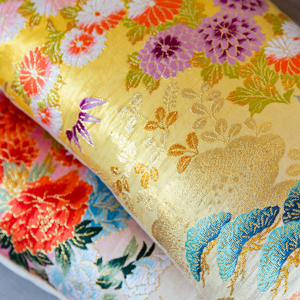 Long Bolster Cushion -Yellow Gold Brocade -Eco wedding gift - product images  of