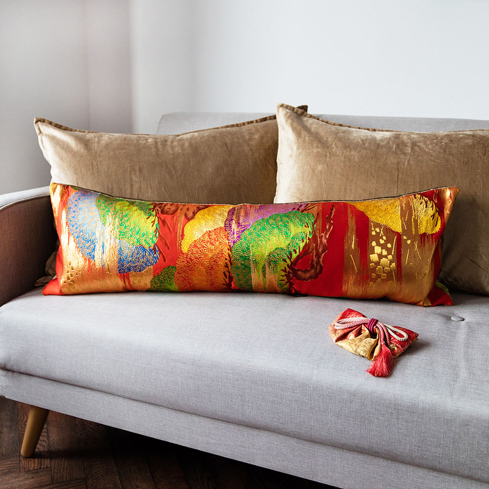 Long Vintage Kimono Cushion -Red Pine -Gold Velvet - product image