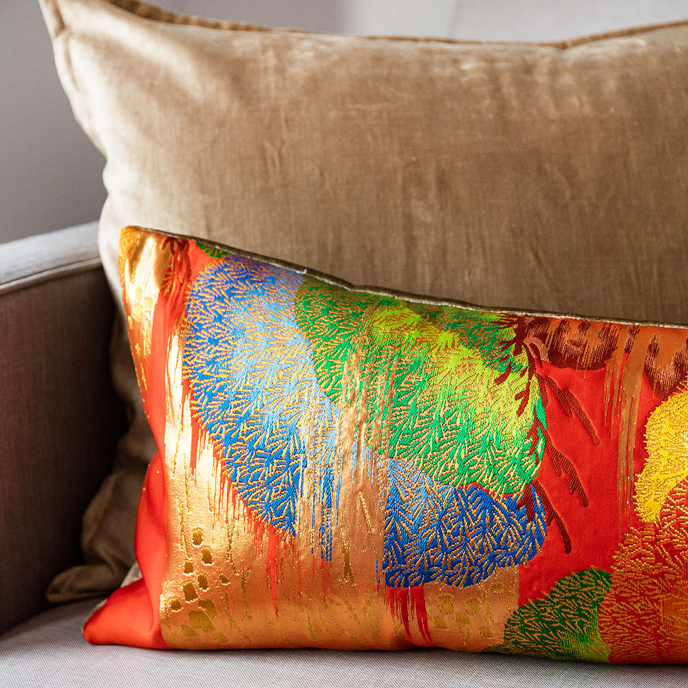 Long Vintage Kimono Cushion -Red Pine -Gold Velvet - product images  of