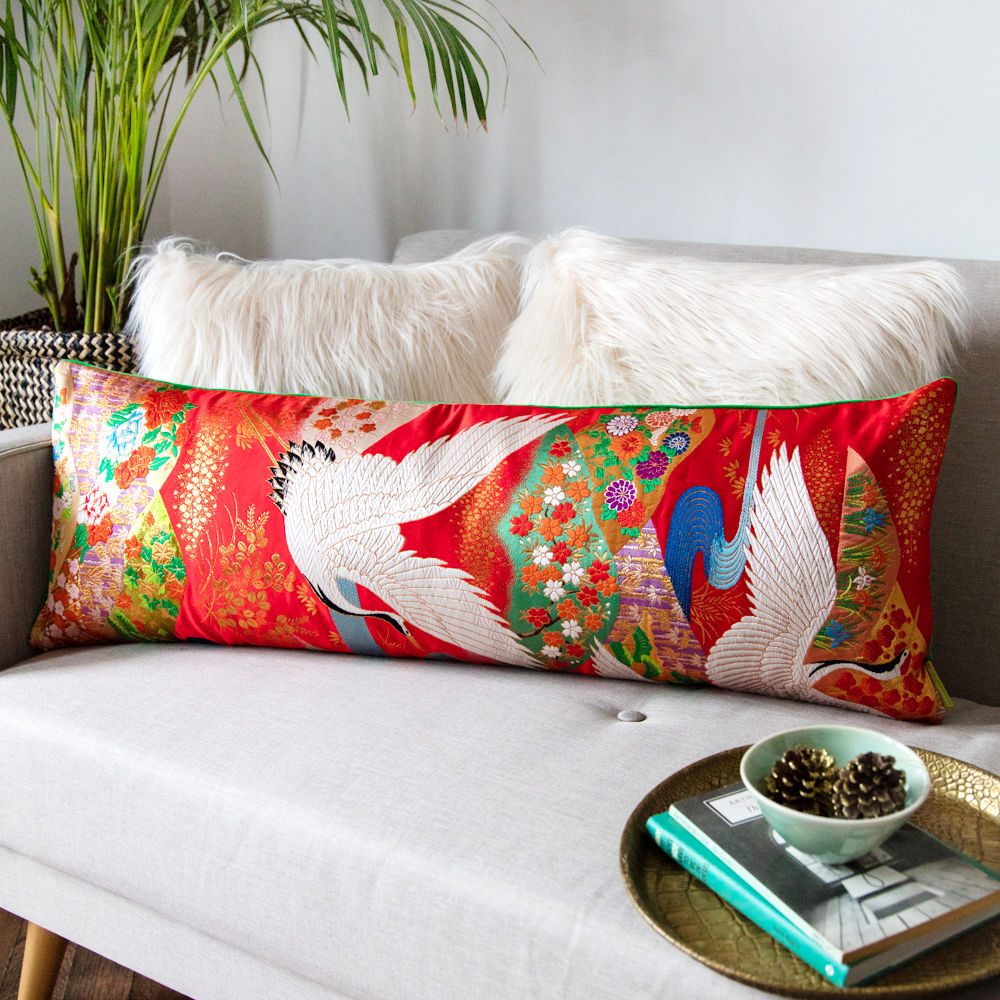Red Vintage Kimono XL Bolster with Green Velvet  - product image