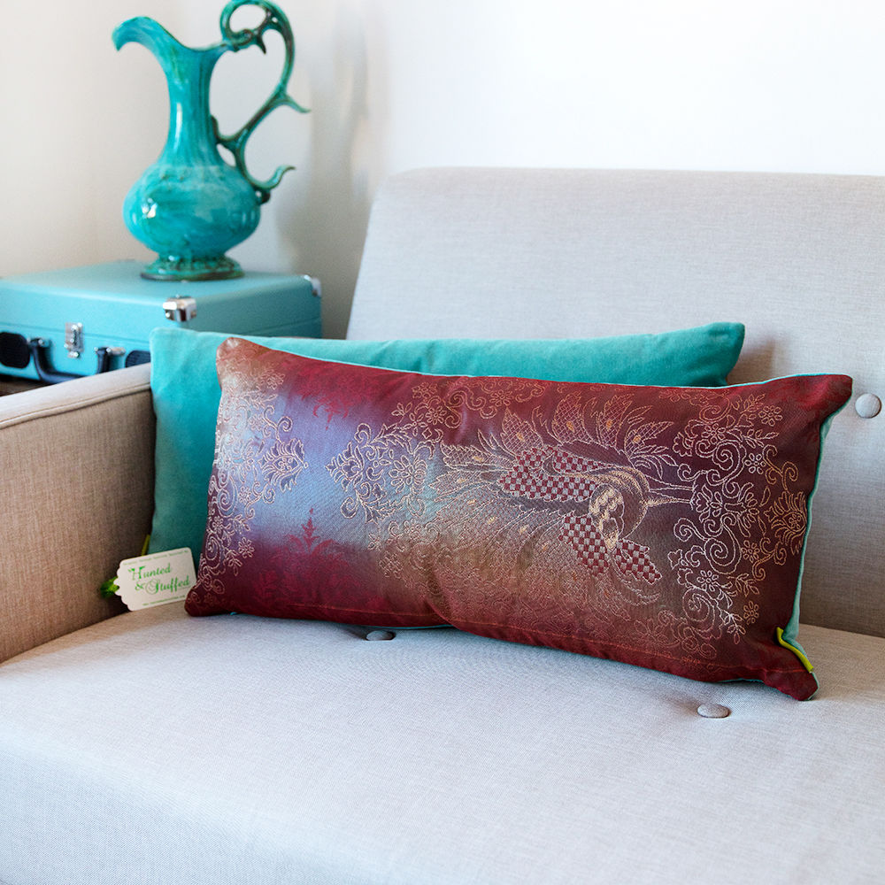 Purple Peacock Kimono Cushion - Turquoise Velvet - product image