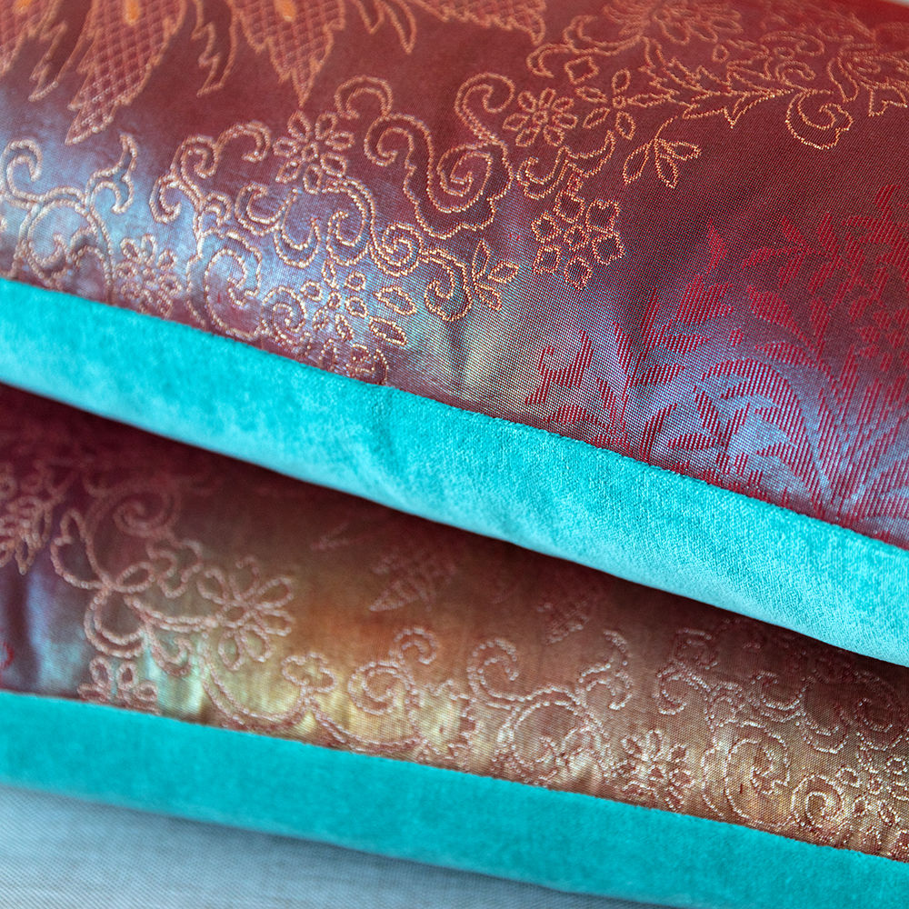 Purple Peacock Kimono Cushion - Turquoise Velvet - product images  of