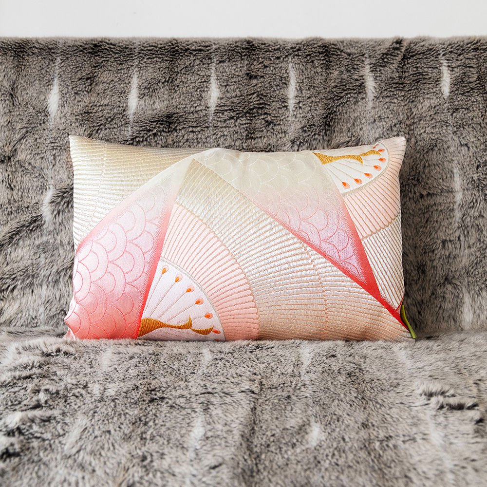 Pink/Silver Peacock Vintage Silk Pillow -1930s Japanese Deco - product images  of