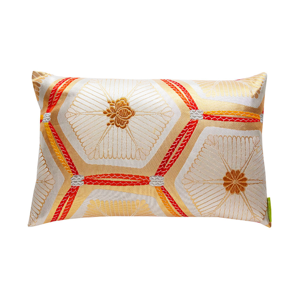 Gold Metallic Pillow -Upcycled Vintage Japanese Silk Cushion -Limited Edition - product images  of