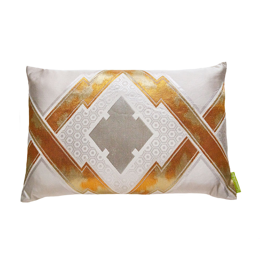 Cream Silk Cushion with Gold Embroidery -Upcycled Japanese Obi Pillow -Metallic Geometric - product images  of