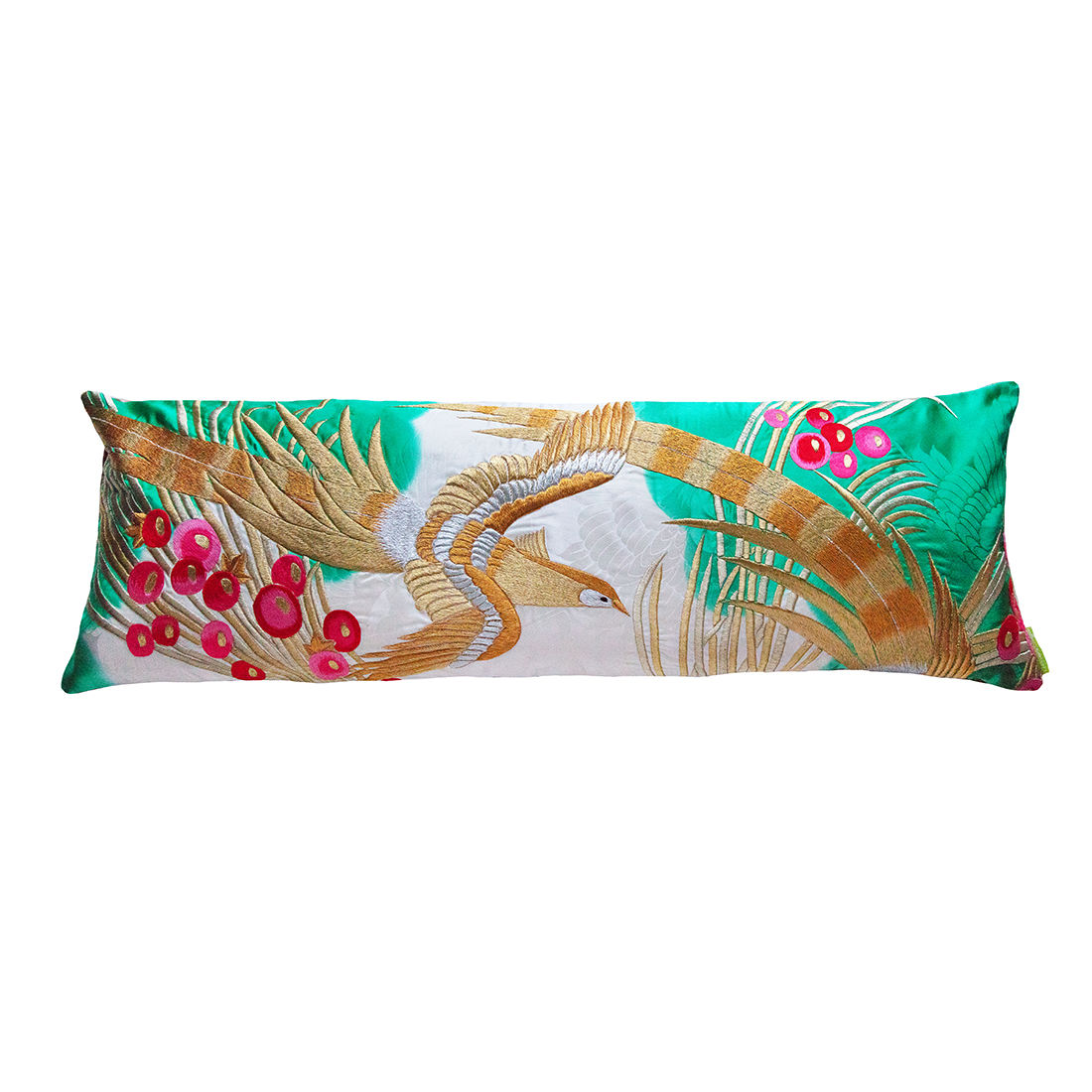 Silk Wedding Kimono Pillow -Golden Phoenix, Gold Velvet - product images  of