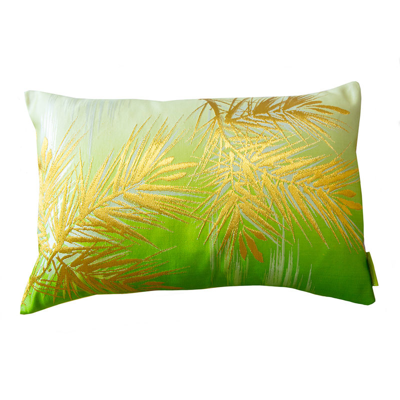 Ombre Cushion In Green Cream With Gold Pine Pattern