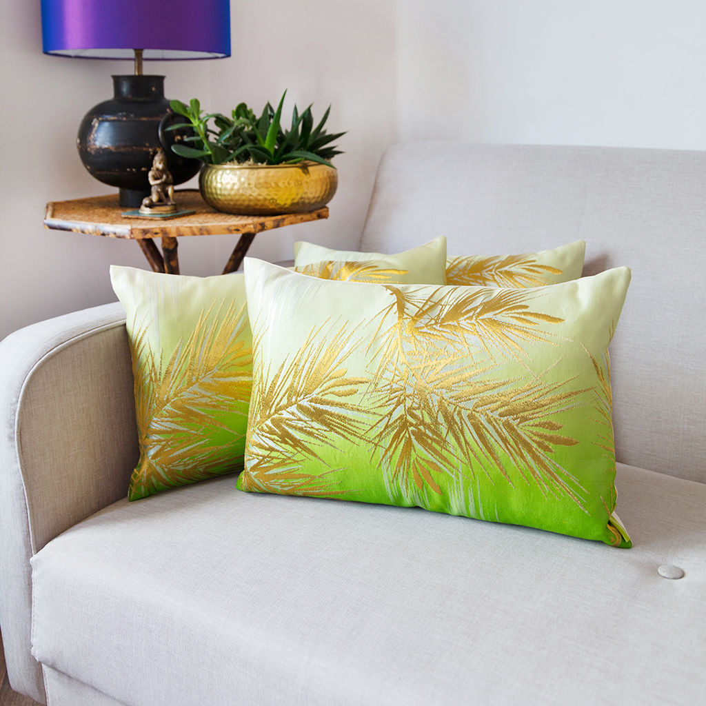 Ombre Cushion in Green/Cream with Gold Pine Pattern - product images  of
