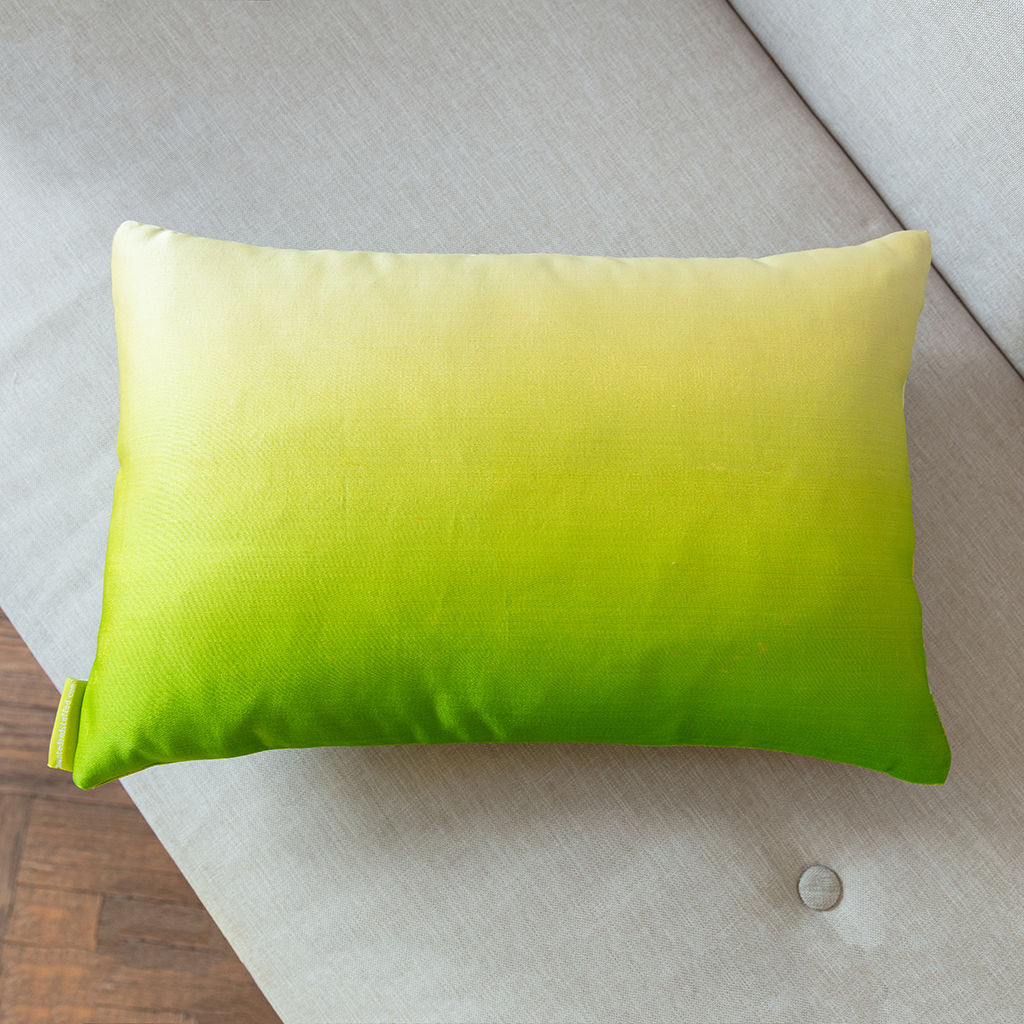Green to Cream Silk Dip-dye Cushion -Gold Pine  - product images  of