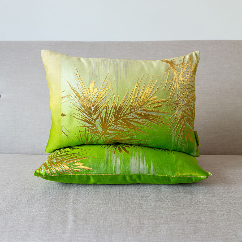 Green to Cream Silk Dip-dye Cushion -Gold Pine  - product image
