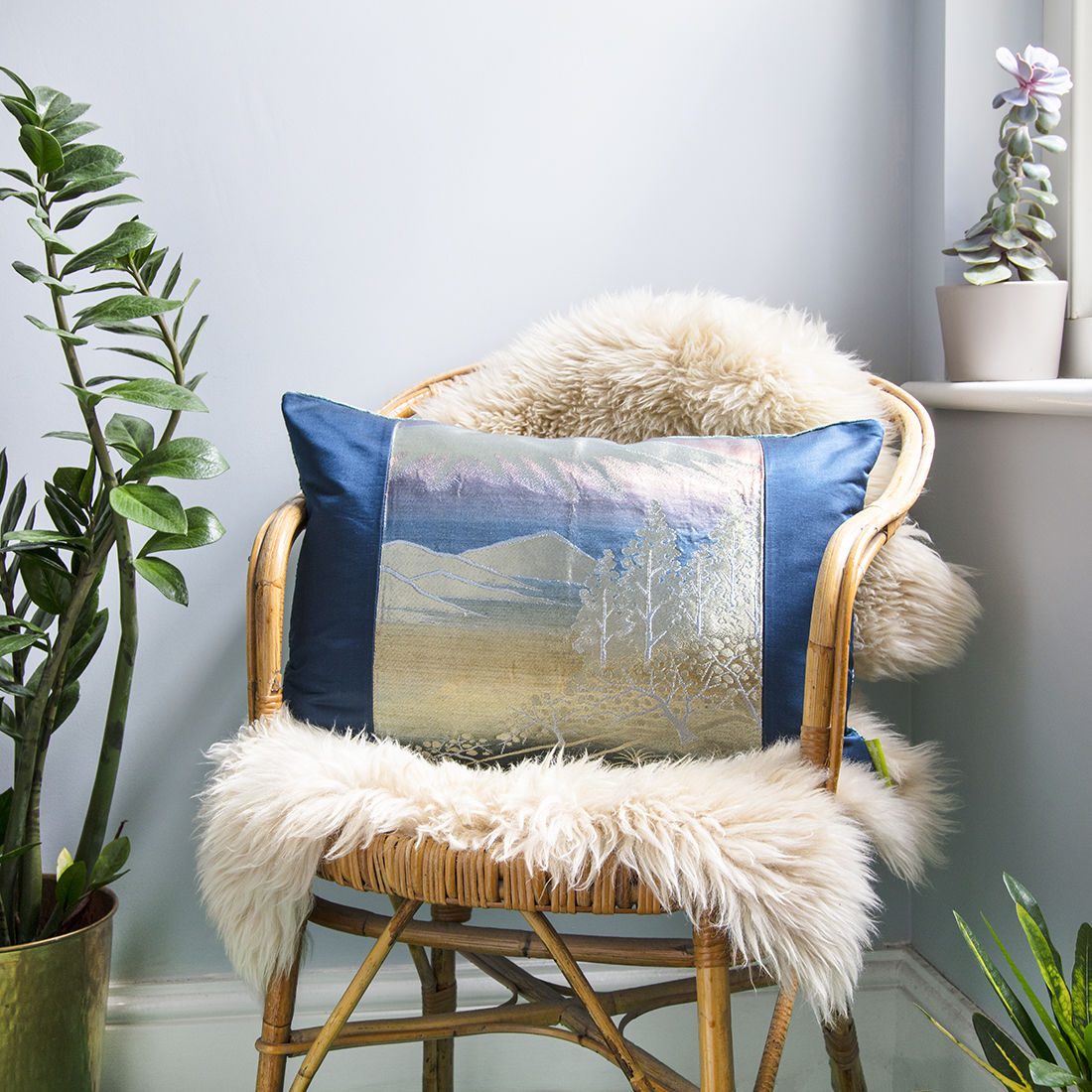 Blue Mountain Silk Velvet Cushion - product image