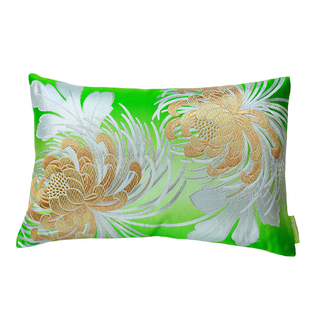 Floral Cushion in Green Vintage Obi Silk -Kiku - product images  of