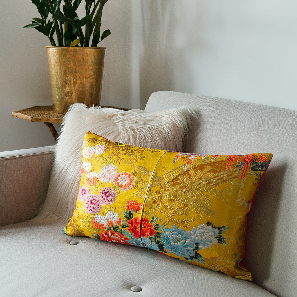 Yellow Silk Cushion -Floral Golden Bridge -Metallic Accent - product image