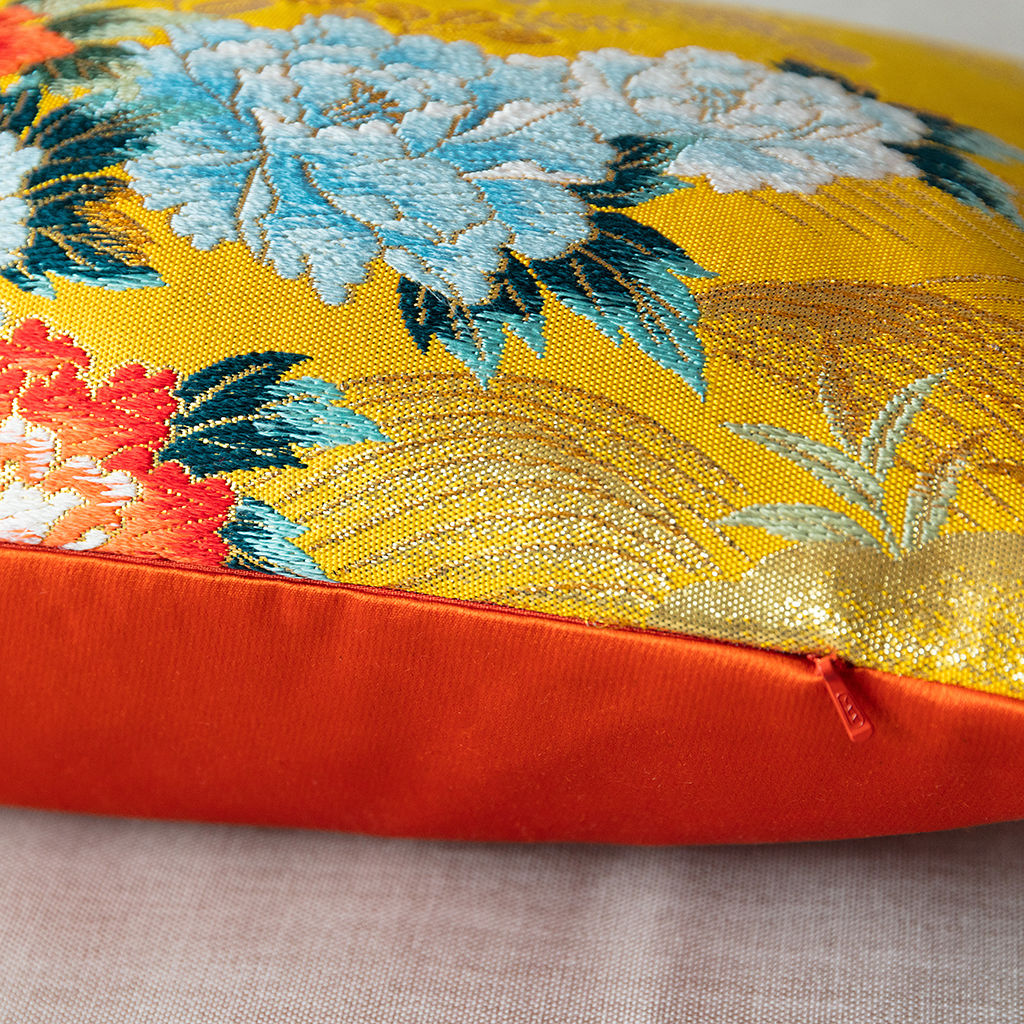 Yellow Silk Cushion -Floral Golden Bridge -Metallic Accent - product images  of
