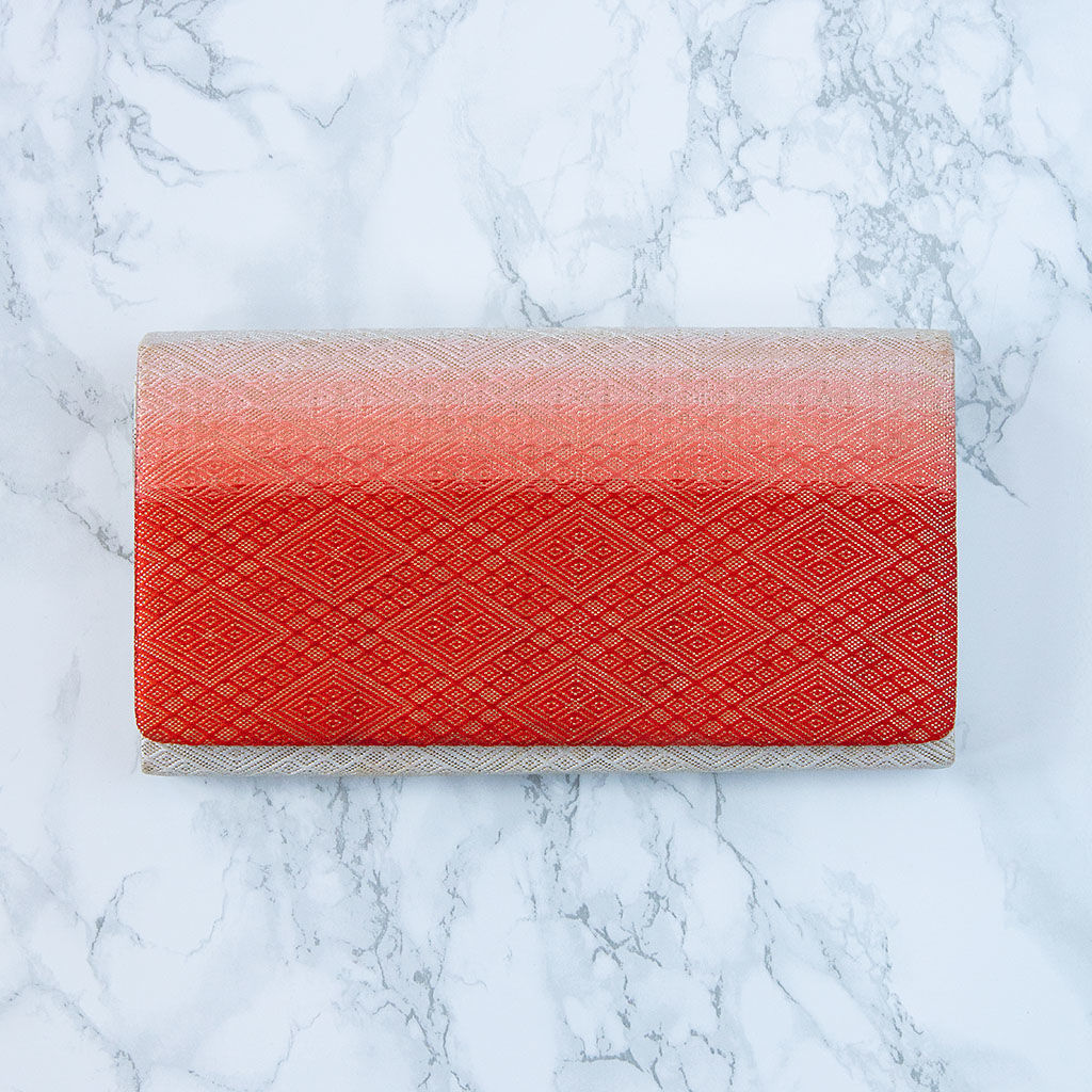 Red Folded Clutch Purse -Ombre Vintage Kimono Clutch - product images  of