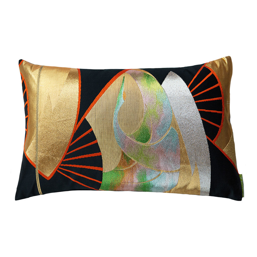 Black Silk Obi Cushion -Golden Fan Rainbow Crane - product images  of