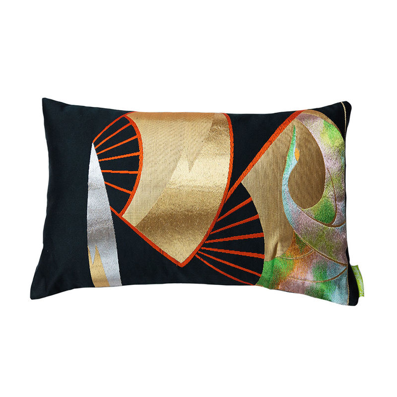 Black Silk Obi Cushion Golden Fan Rainbow Crane