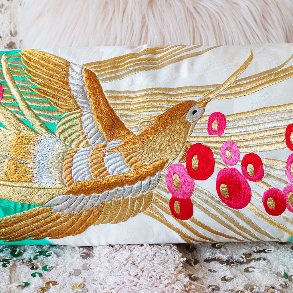 Wedding Kimono Silk Bolster Cushion, Gold Bird Embroidery, Velvet - product images  of