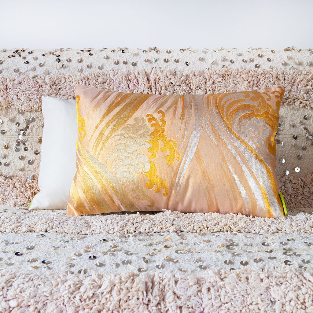 Gold Silk Cushion -Gold Silver Ocean Waves -Hokusai Upcycled Obi Pillow - product image