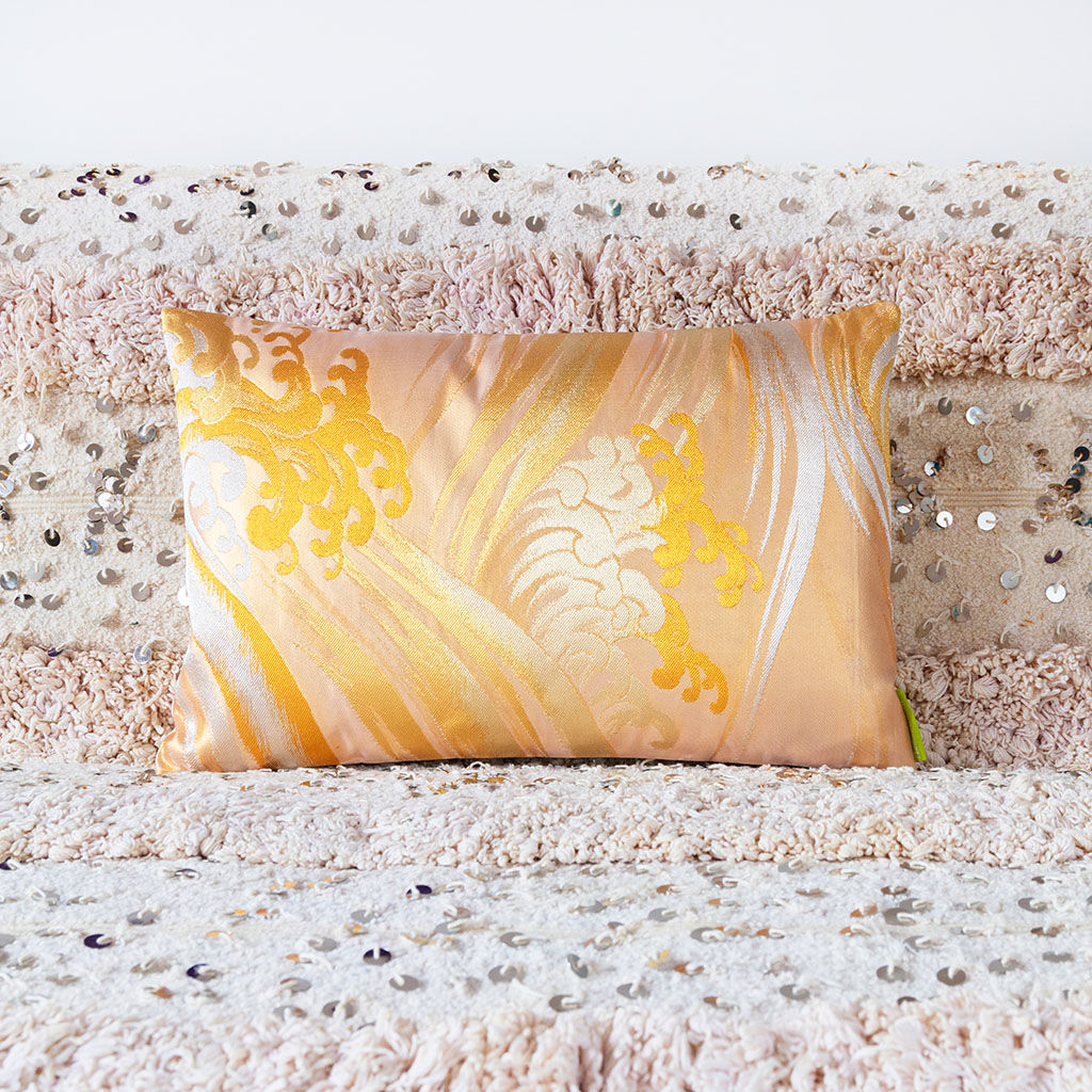 Gold Silk Cushion -Gold Silver Ocean Waves -Hokusai Upcycled Obi Pillow - product images  of