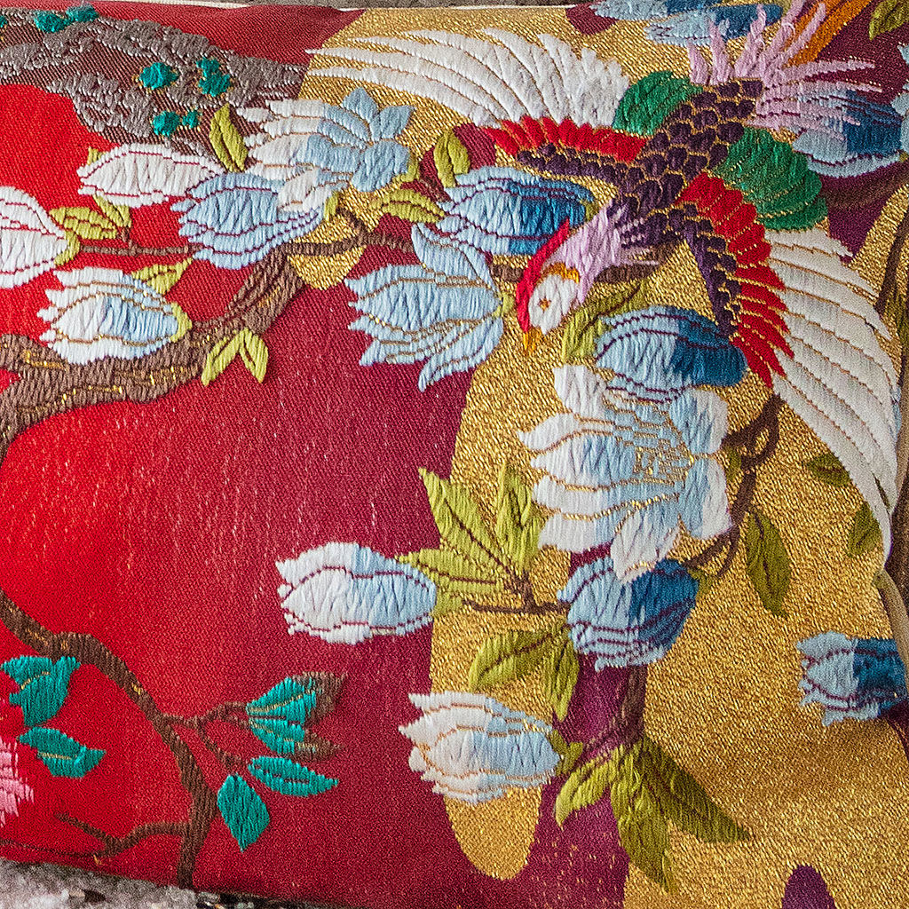 Kimono Bolster Pillow -Red, Gold Floral Embroidery -Silk, Velvet - product images  of