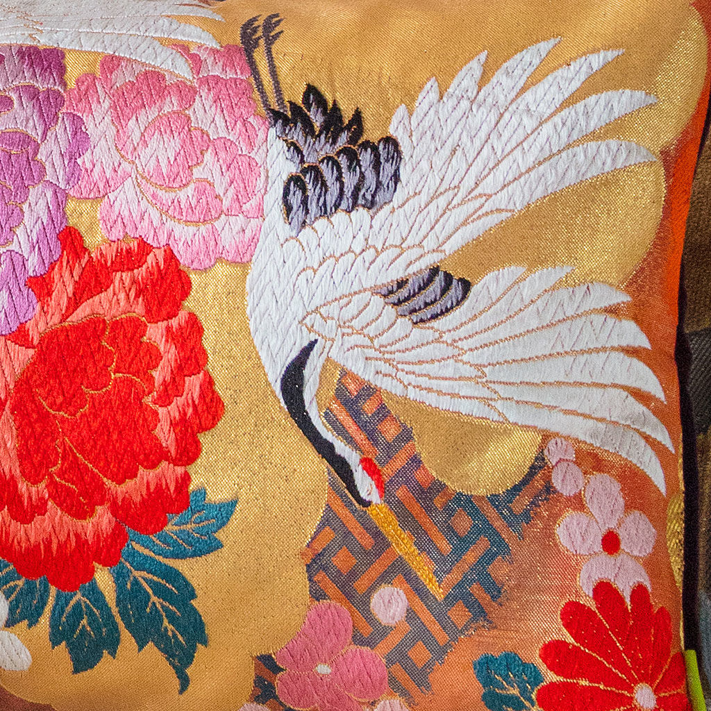 Long Floral Cushion -Vintage Kimono Silk Embroidery -Purple Velvet - product images  of