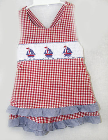 Sailor,Outfit,|,Suit,Dress,Girl,412071,A066,Sailor Outfit, Sailor Dress, Sailboat Dress - Sail Boat Dress - Ruffled Shorts - Ruffled Sunsuit - Matching Sister - Matching Siblings - Siblings Outfits