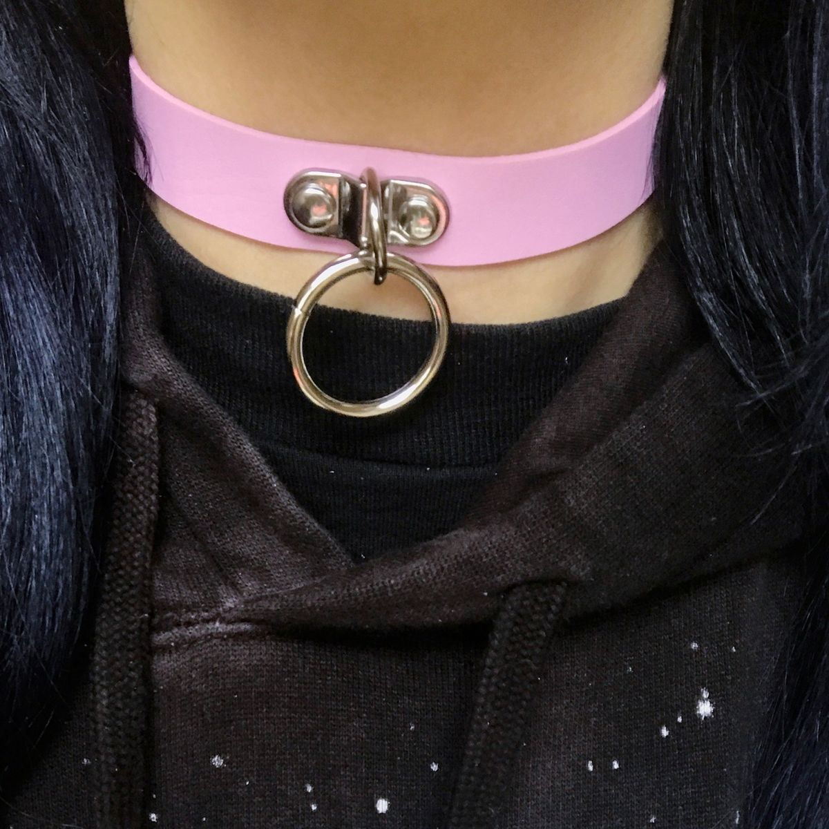 Pink Choker with Metal Hoop - product images  of