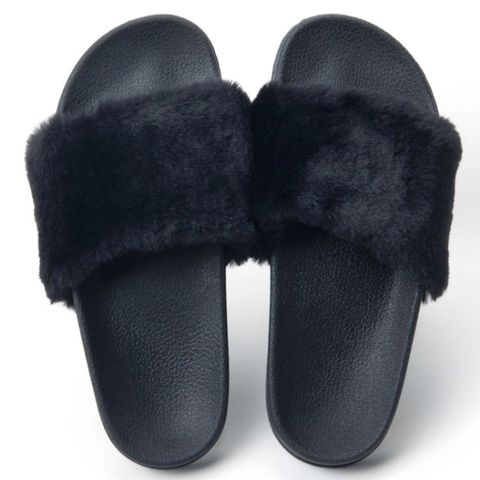 Black,Fur,Slides,fur slides, faux fur, slides