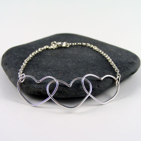 Silver,Mother,and,Children's,Heart,Bracelet,heart bracelet, mother and child, personalised jewellery