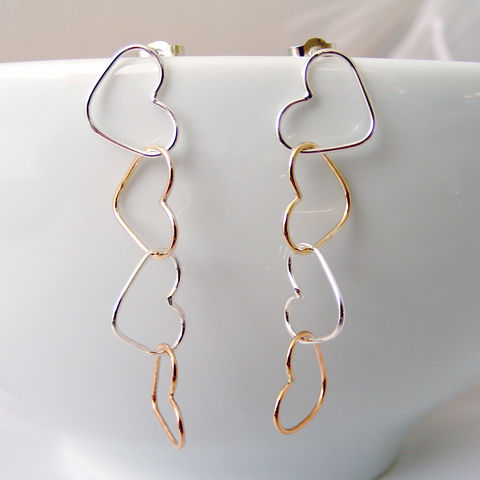 Gold,and,Silver,Four,Heart,Dangle,Earrings,Jewelry,UK_handmade,drop_earrings,gifts_for_her,dangle_earrings,mixed_metal_jewelry,Heart_Jewellery,bridal_earrings,bridesmaid_earrings,wedding_jewellery,long_earrings,Tanya_Garfield,free_UK_shipping,delicate