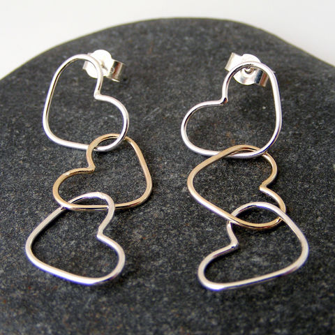 Gold,and,Silver,Triple,Heart,Dangle,Earrings,Jewelry,UK_handmade,gold_earrings,delicate_earrings,drop_earrings,dangle_earrings,heart_earrings,bridal_earrings,Bridesmaid_Earrings,Tanya_Garfield,free_UK_shipping,wedding,mixed_metal,silver_and_gold
