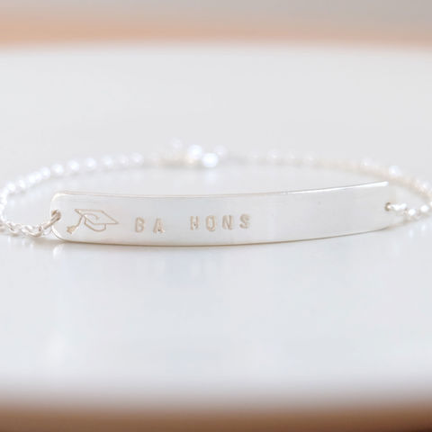 Personalised,Graduation,Silver,Bracelet,Jewelry,graduation_gift,graduation_bracelet,graduation_jewellery,Tanya_Garfield,UK_handmade,free_UK_delivery,gift_for_graduate,celebration_gift,personalised,keepsake_jewellery,mortarboard,hand_stamped,name_plate_bracelet
