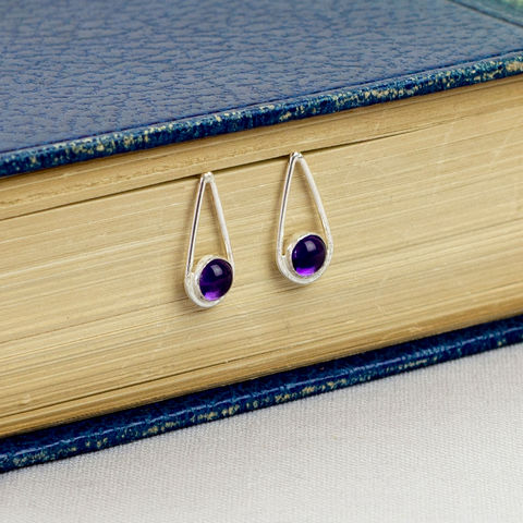 Silver,Amethyst,Teardrop,Earrings,Jewelry,Tanya_Garfield,UK_handmade,free_UK_delivery,bridesmaid_earrings,bridal_earrings,contemporary_studs,long_studs,purple_earrings,classic_studs,classic,modern,birthstone,February_birthstone