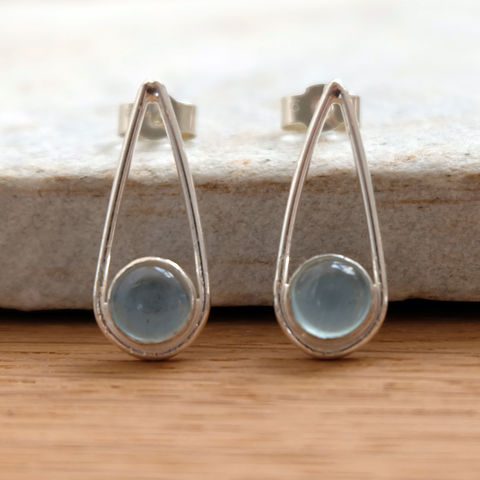 Silver,Aquamarine,Teardrop,Earrings,Jewelry,Tanya_Garfield,UK_handmade,free_UK_delivery,bridal_earrings,something_blue,classic_studs,contemporary_studs,birthstone,March_birthstone,bridesmaid_earrings,studs,stone_set_earrings,modern_studs
